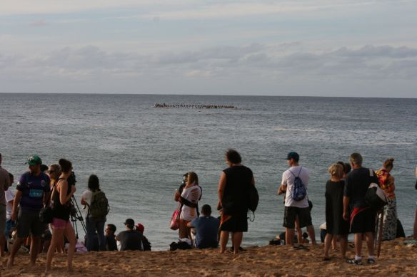 Paddle-out for the opening ceremony of The Eddie in Waimea Bay, Oahu.