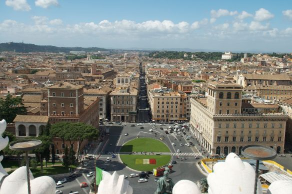Rome on a warm, sunny day as seen from the Vittorio Emanuel II monument (aka The Wedding Cake)