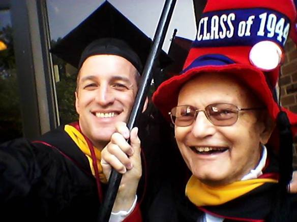 Alumni Relations' Steve Hamilton and Harry Gross, W'44, at Penn's 2015 Commencement