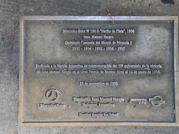BA Fangio plaque