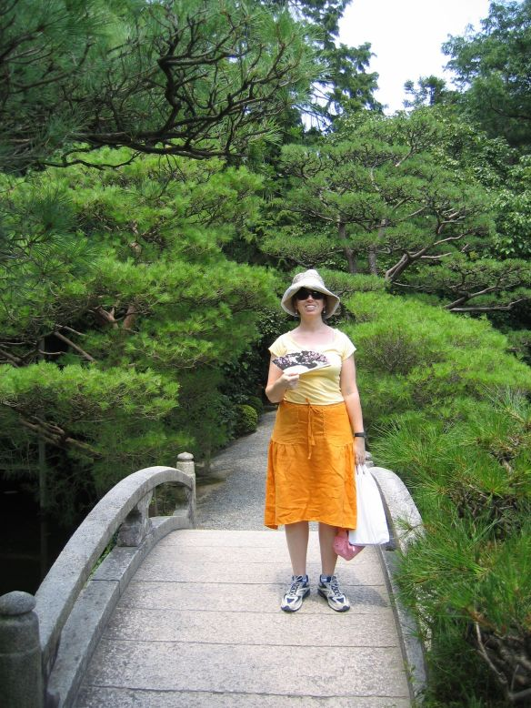 Wearing the hat in hot and humid Kyoto, Japan.