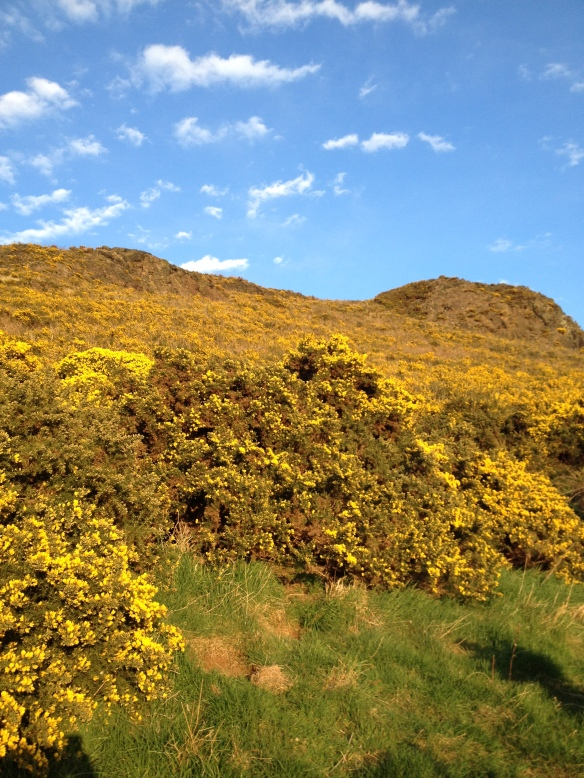 Climbing to Arthur's Seat in Holyrood Park.