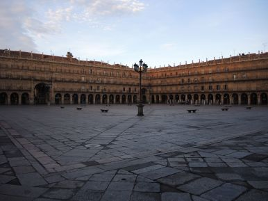 Plaza Mayor. It was empty in the morning but full of people the night before.