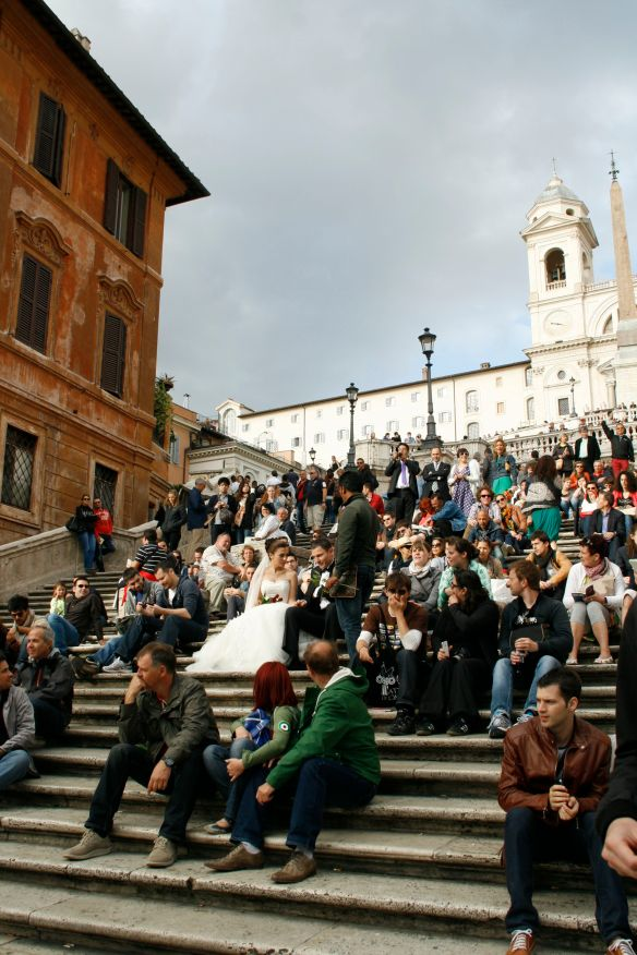 Can you spot the bride and groom on the Spanish steps?