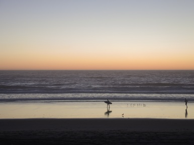 Surfer at sunset, Manhattan Beach, October 30th.