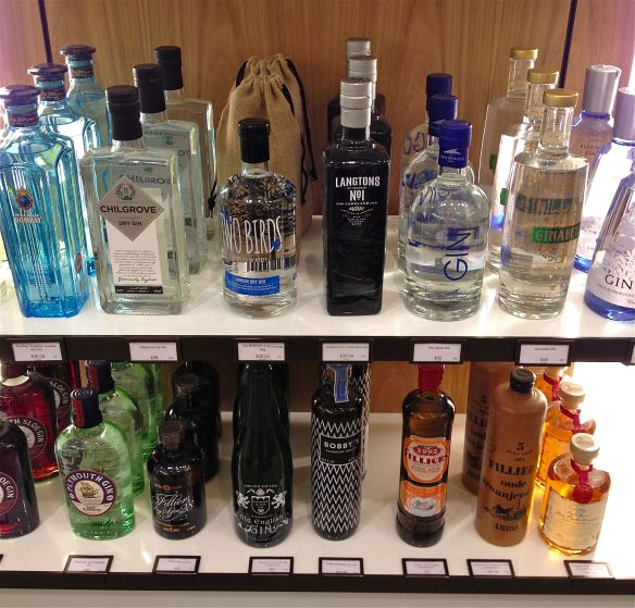 Some of the gin at Fortnum and Mason