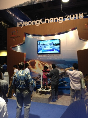 The Visit Korea booth had a virtual reality ski jump experience - I played three times!