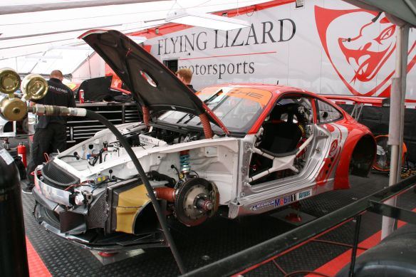 Walking around, you can see the cars being worked on before the races - here Flying Lizard Motorsports in 2008