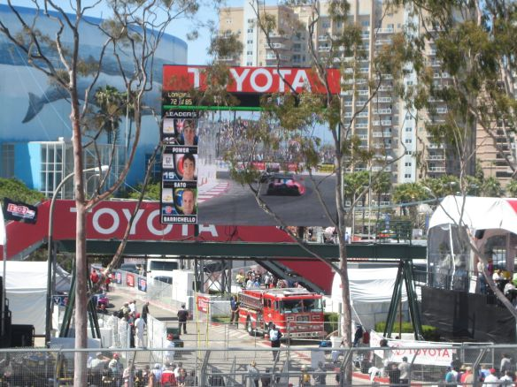 There are screens throughout the course - here during the Indy Race in 2012