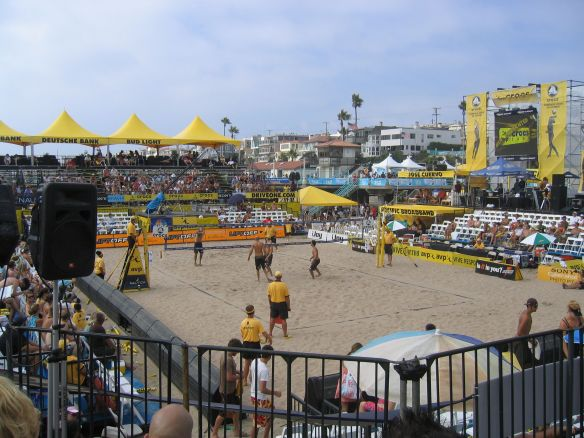 Stands south of the Manhattan Beach pier for the Manhattan Beach Open in 2006