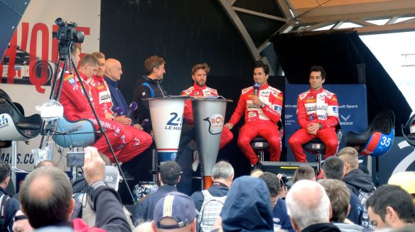 Nelson being interviewed with his Rebellion Racing team mates during Le Mans scrutineering.