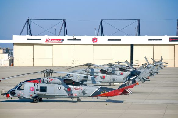 Naval seahawk helicopters parked at Naval Base Coronado
