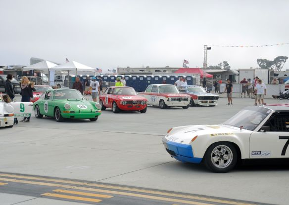 Group 8 cars on the race grid at the Coronado Speed Festival for vintage car racing