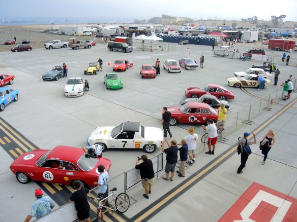 Sportscar Vintage Racing Association group 8 cars on the grid at Coronado Speed Festival