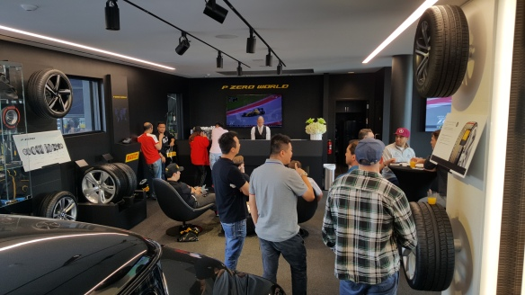 LA F1 Fans at Pirelli P Zero World to watch the USGP Formula 1 race