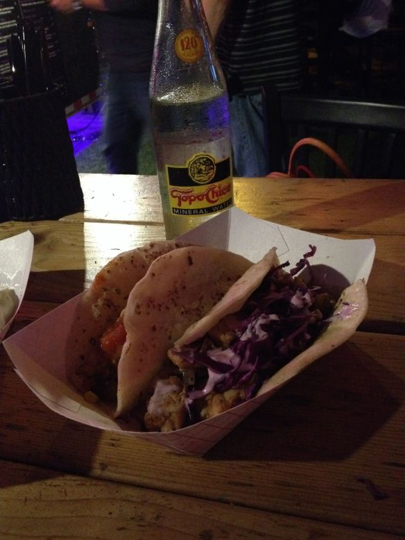 Topo Chico and tacos from the Violet Taco food truck in Austin