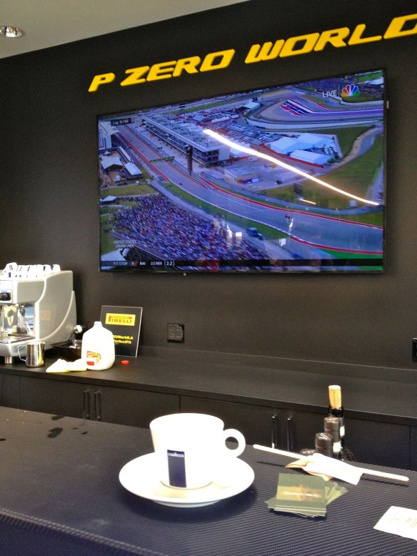 Lavazza cappuccino at LA F1 fans Pirelli P Zero World for Formula 1
