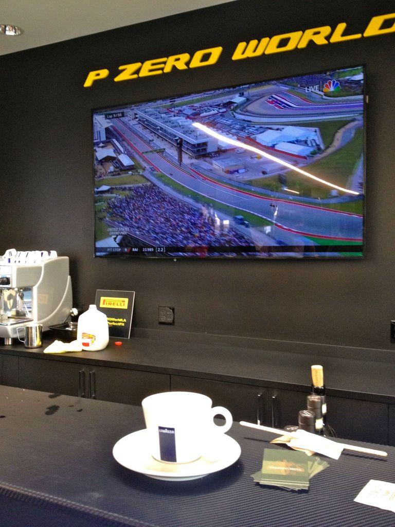 Lavazza cappuccino at LA F1 fans Pirelli P Zero World for Formula 1