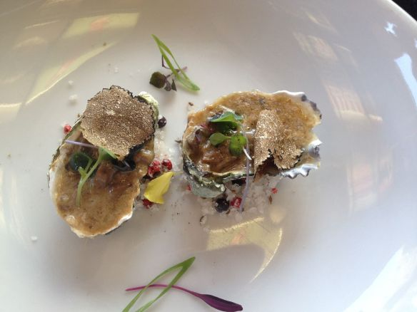 Chef Paolo de la Corte of Sunset da Mona Lisa oysters with truffels for Sabor a Cabo event at Rock & Brews El Segundo