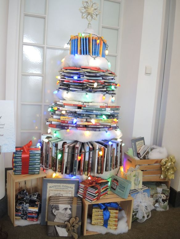 Book Christmas tree at Indiana Historical Society FOTrees