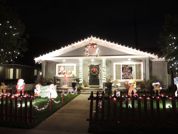 House decorated on Candy Cane Lane in El Segundo, California