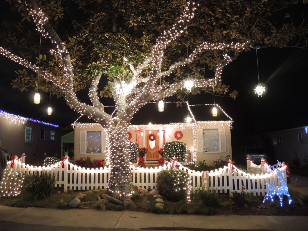 Simply decorated home with Christmas lights on Candy Cane Lane in El Segundo, California