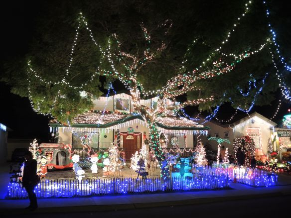 Christmas lights decorate a home on Candy Cane Lane in El Segundo, California