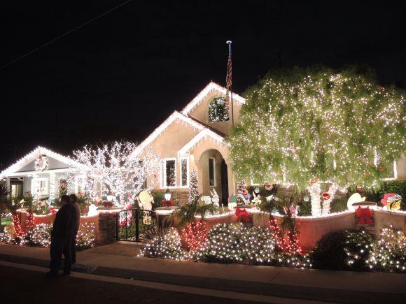 Christmas lights on Candy Cane Lane in El Segundo