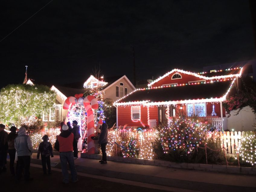 Candy Cane arch on Candy Cane Lane in El Segundo, California