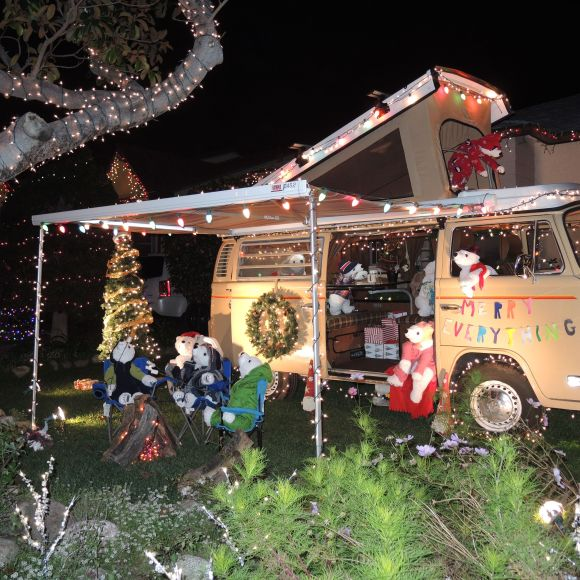 Polar Bears Camping on Candy Cane Lane in El Segundo