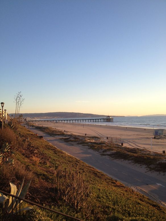 Looking south on the Strand towards the Manhattan Beach Pier in Manhattan Beach California