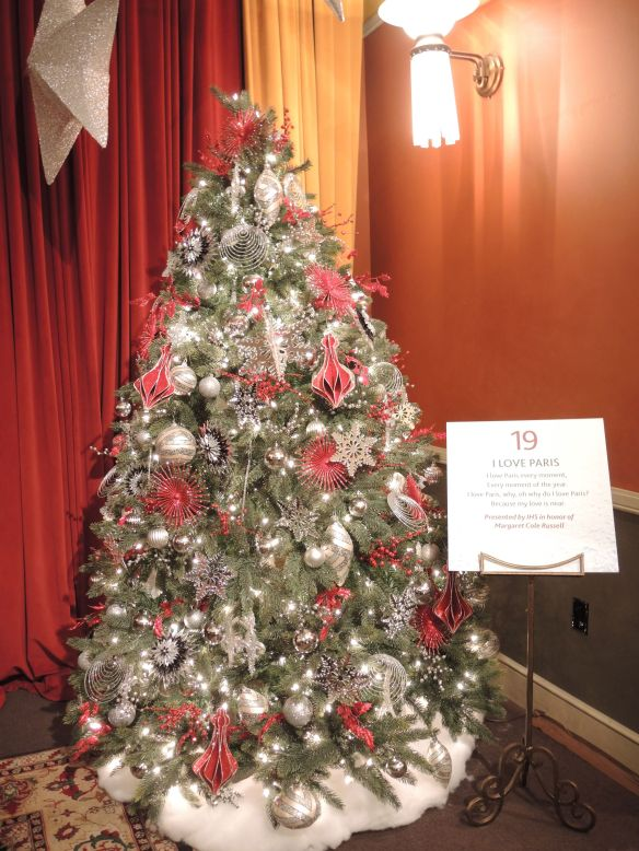 Paris Christmas tree in Cole Porter room at Indiana Historical Society Festival of Trees in Indianapolis