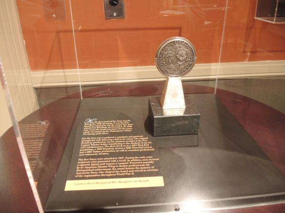 Cole Porter's Tony Award for Kiss Me Kate on display at Indiana Historical Society