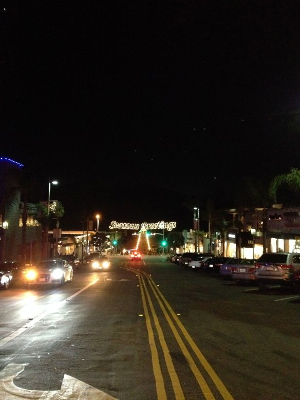 Season's Greeting lights over Manhattan Beach Boulevard