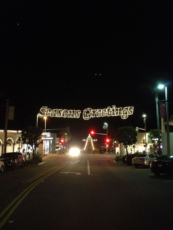 Seasons Greetings in Manhattan Beach with pier in background