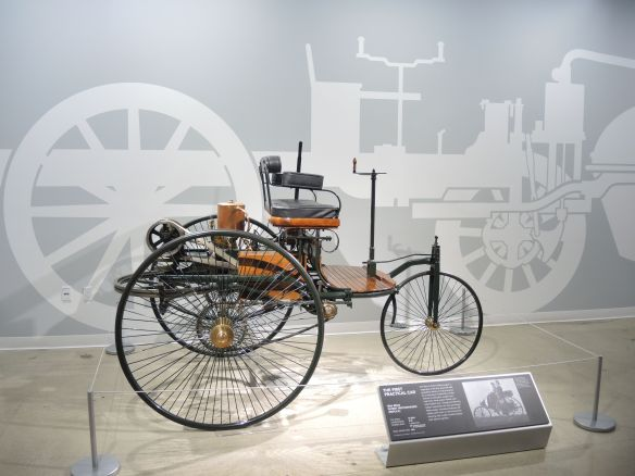 The first practical car an 1886 Benz Patent Motorwagen replica at the Petersen Automotive Museum seen with LA F1 Fans