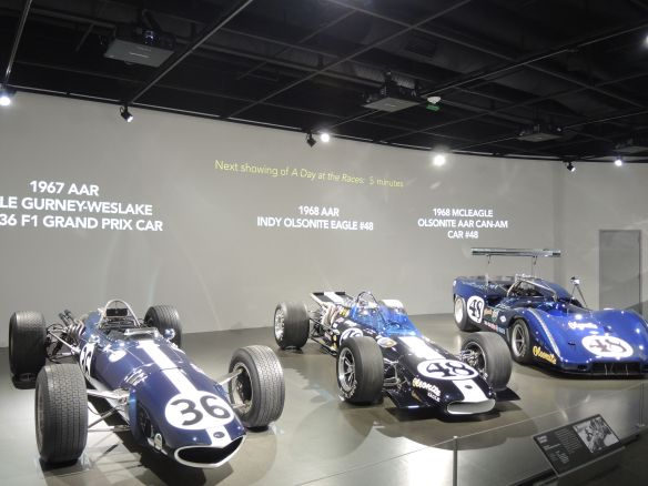 Dan Gurney exhibit at the Petersen Automotive Museum featured the 1967 AAR Eagle Gurney-Weslake V-12 #36 F1 Grand Prix Car