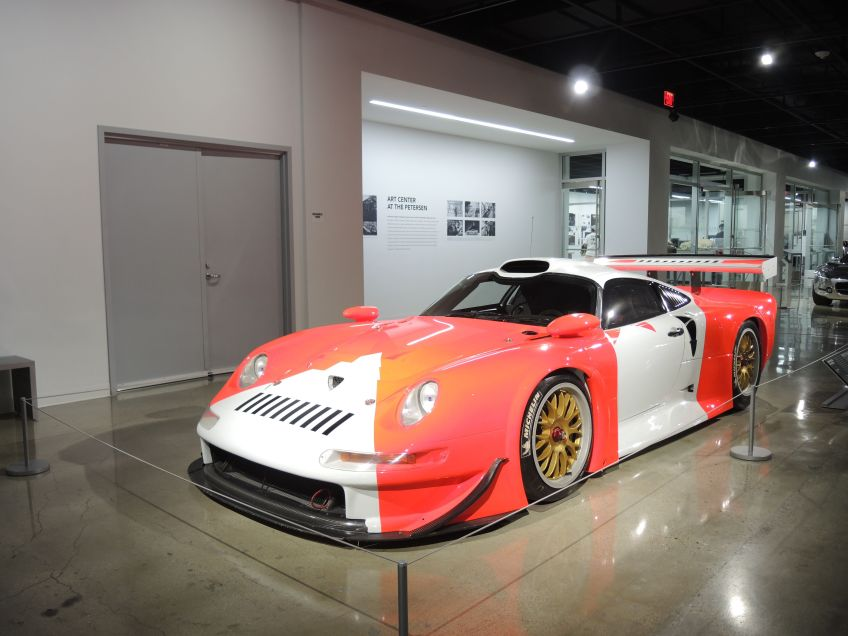 front view of the 1997 Porsche 911 GT1 at the Petersen Automotive Museum