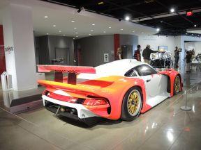 rear view of the 1997 Porsche 911 GT1 at the Petersen Automotive Museum