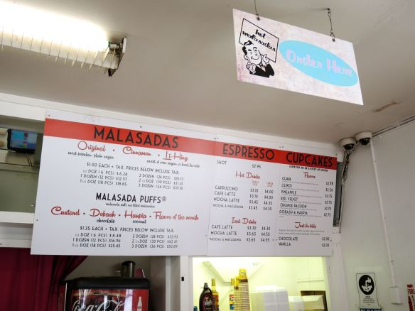 Malasada menu at Leonard's bakery, Honolulu, Oahu, Hawaii in August 2015