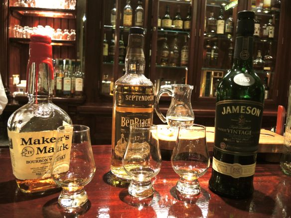 Tasting the difference between Bourbon, Scotch Whisky and Irish Whiskey, the Malton Hotel, Killarney, Ireland