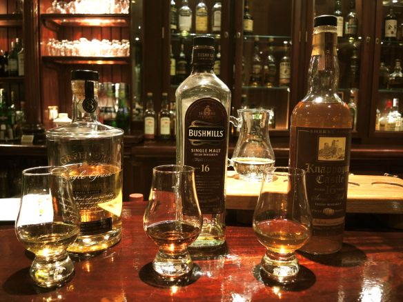 Tasting Irish Whiskey at the Malton Hotel in Killarney, Ireland. Greenore, Bushmills and Knappogue