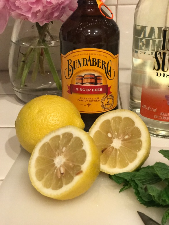Bundaberg Ginger Beer from Australia and fresh lemons