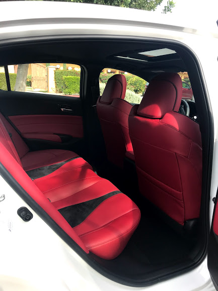 Acura ILX red leather interior for the A Girls Guide to Cars #Drive2Learn conference photo by Kiera Reilly